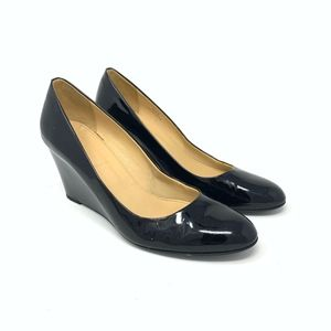 J. Crew Black Patent Leather Wedges Size 8 {FS}